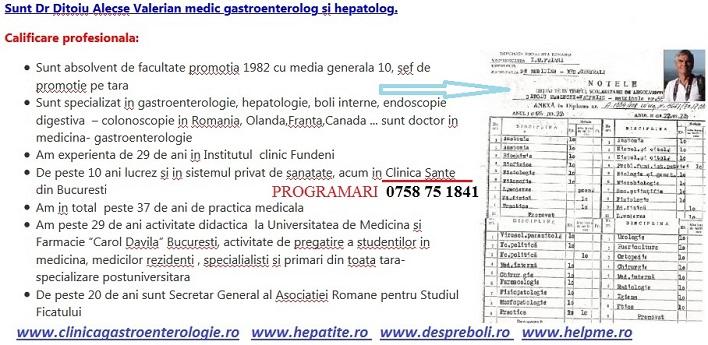 Dr Ditoiu, gastroenterolog hepatolog Bucuresti, cv scurt